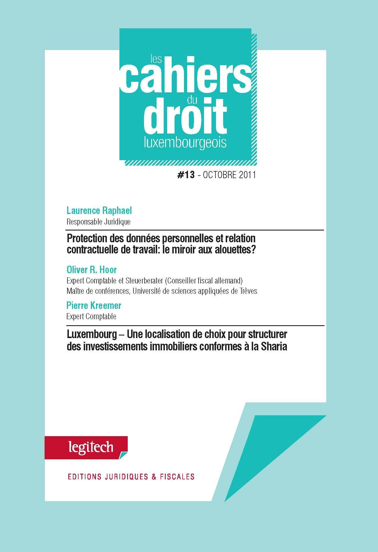 CAHIER DU DROIT LUXEMBOURGEOIS N 13