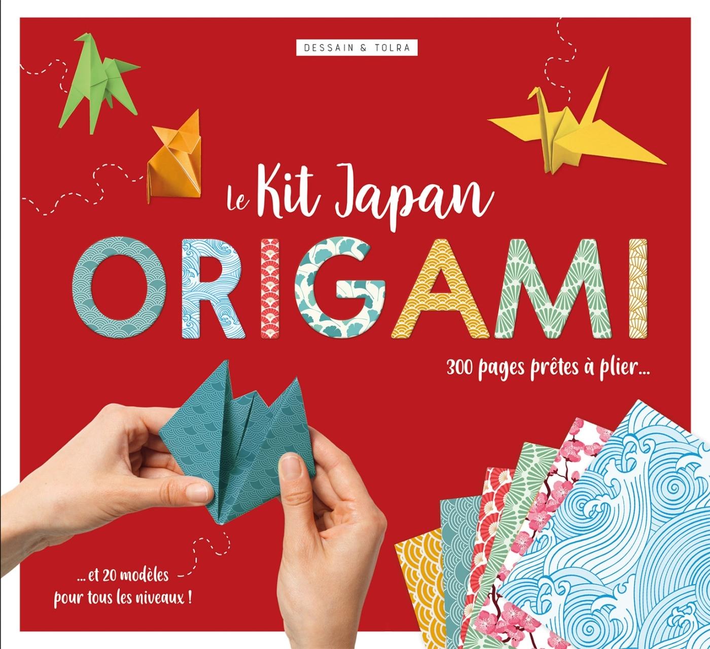 LE KIT JAPAN ORIGAMI - 300 PAGES DETACHABLES AUX MOTIFS JAPONISANTS, 20 MODELES PRETS A PLIER