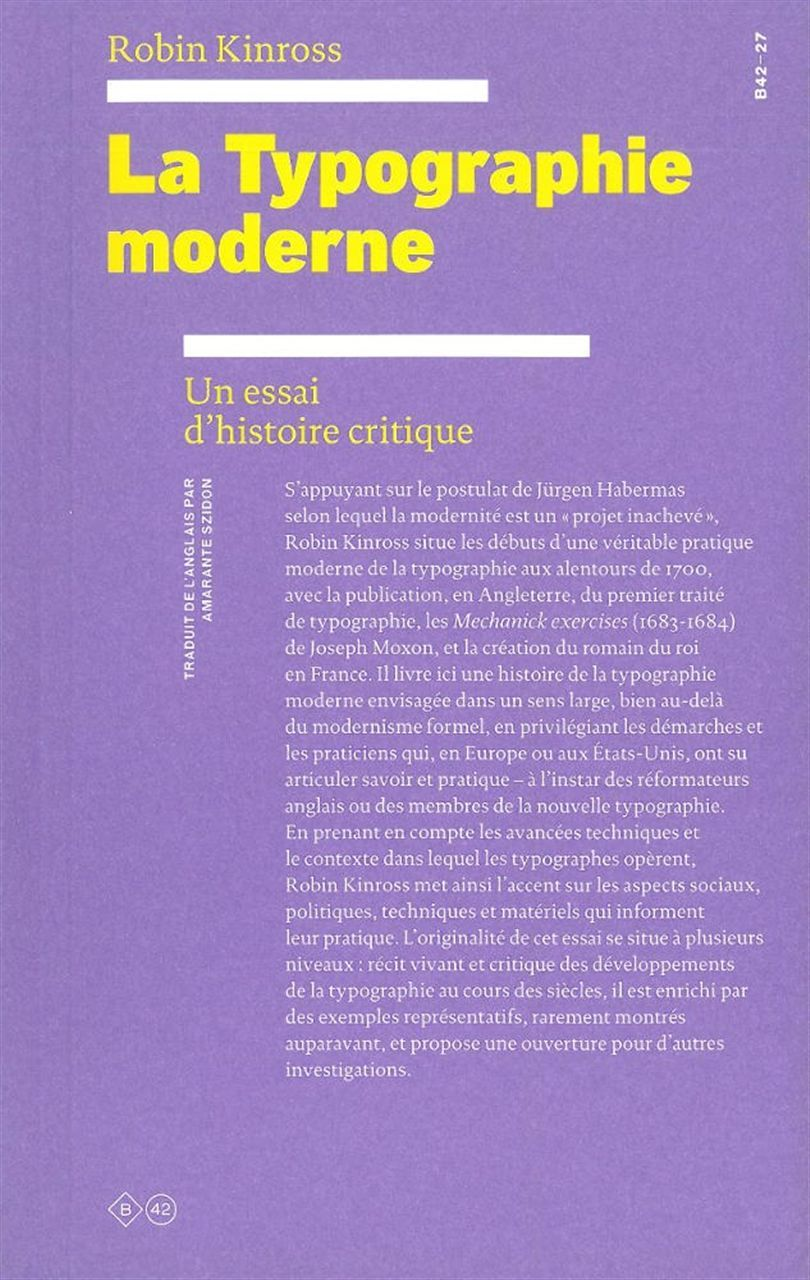 LA TYPOGRAPHIE MODERNE - UN ESSAI D'HISTOIRE CRITIQUE