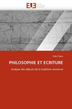 PHILOSOPHIE ET ECRITURE