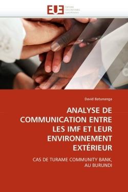 ANALYSE DE COMMUNICATION ENTRE LES IMF ET LEUR ENVIRONNEMENT EXTERIEUR
