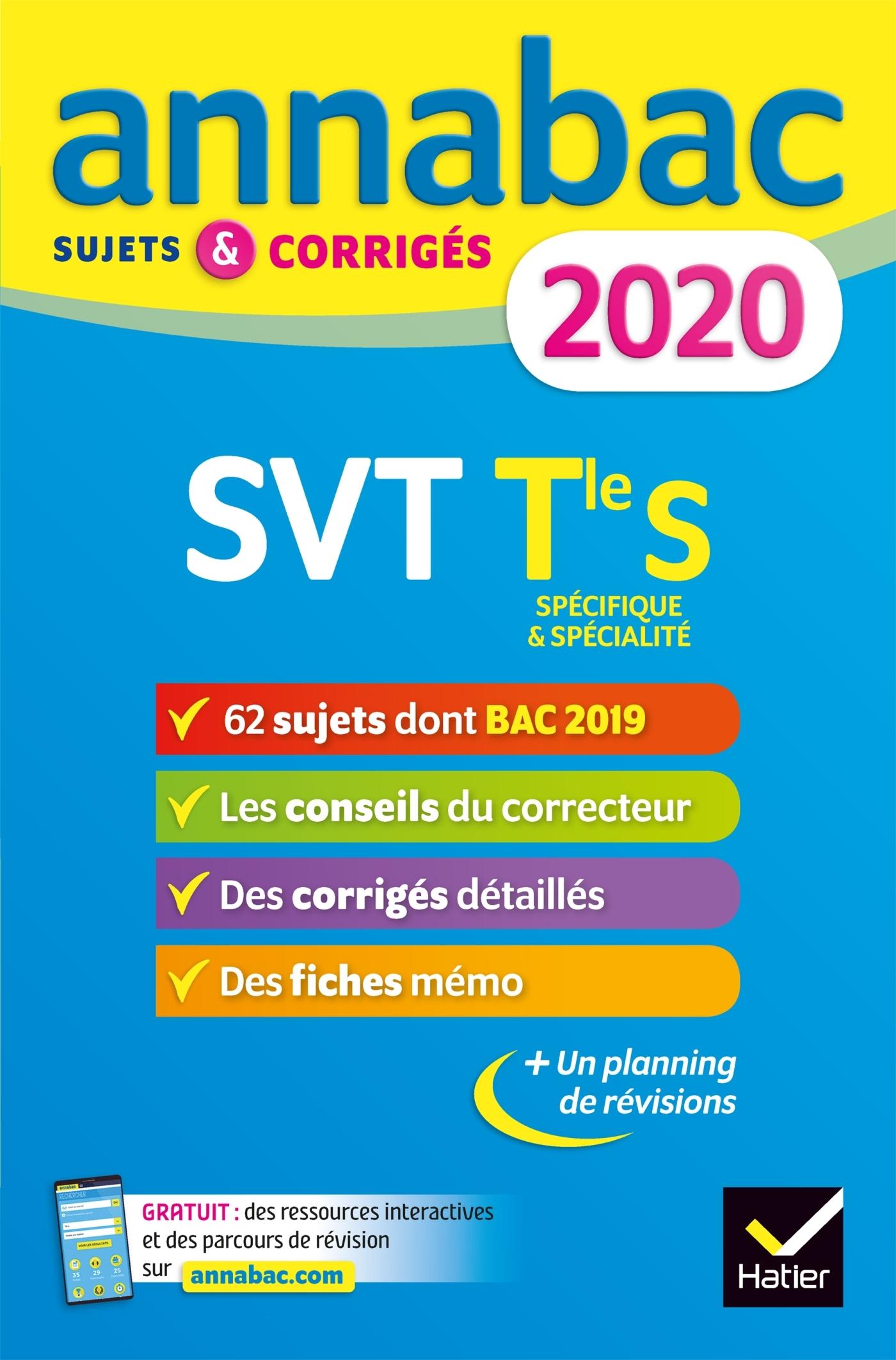 ANNALES ANNABAC 2020 SVT TLE S - SUJETS ET CORRIGES DU BAC  TERMINALE S