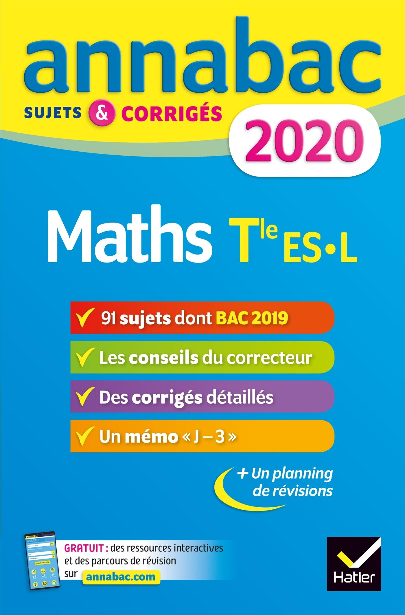 ANNALES ANNABAC 2020 MATHS TLE ES, L - SUJETS ET CORRIGES DU BAC  TERMINALE ES (SPECIFIQUE & S