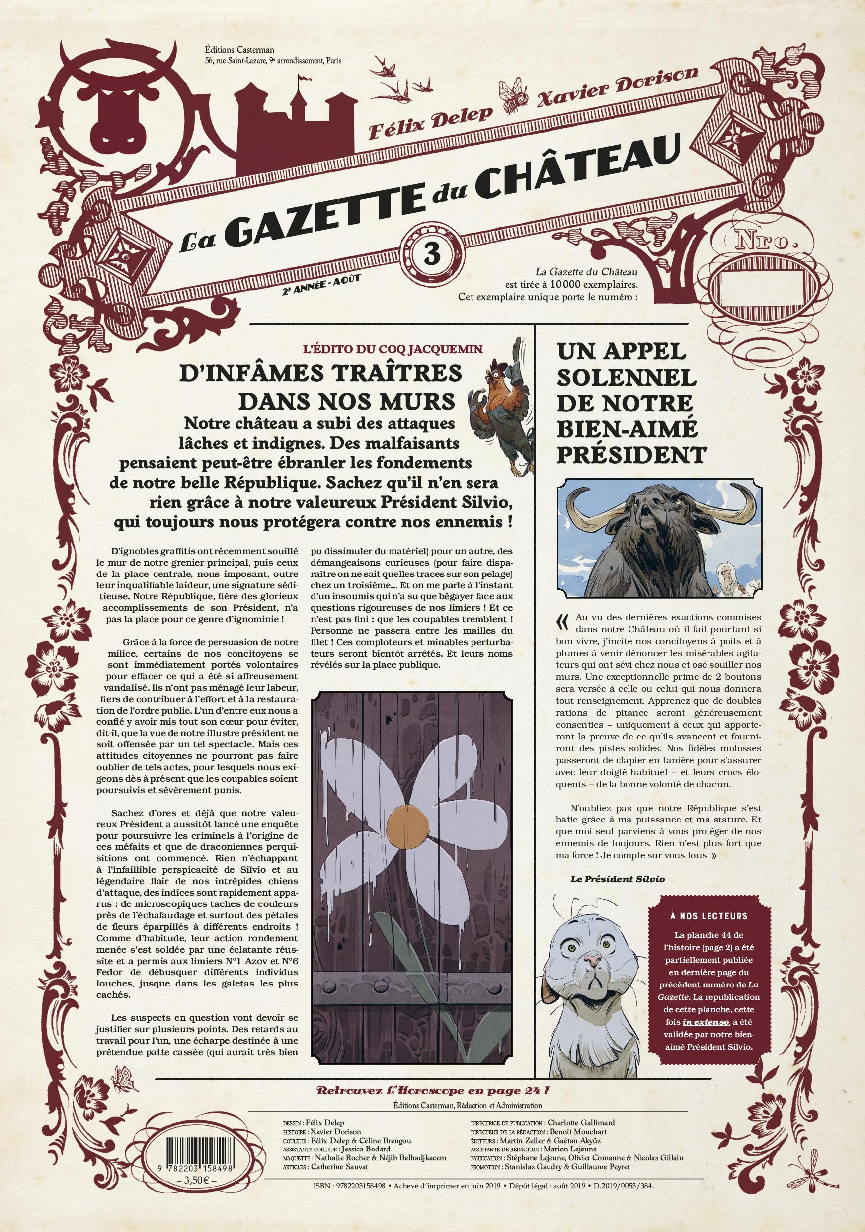 LE CHATEAU DES ANIMAUX - T03 - LA GAZETTE DU CHATEAU