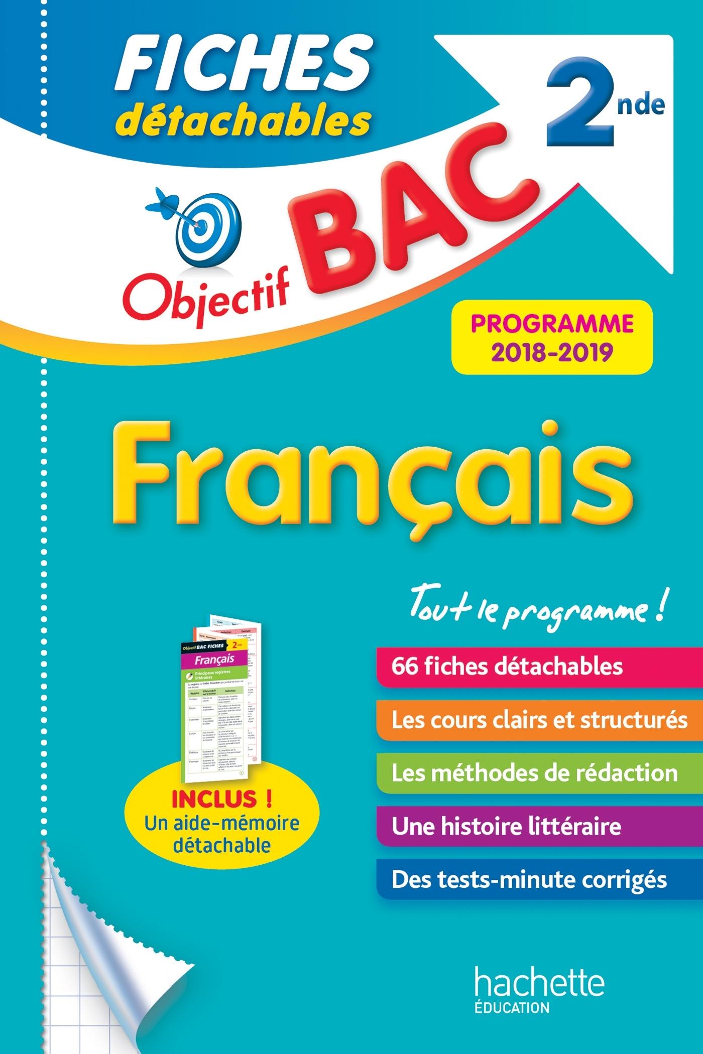 OBJECTIF BAC FICHES DETACHABLES FRANCAIS 2NDE