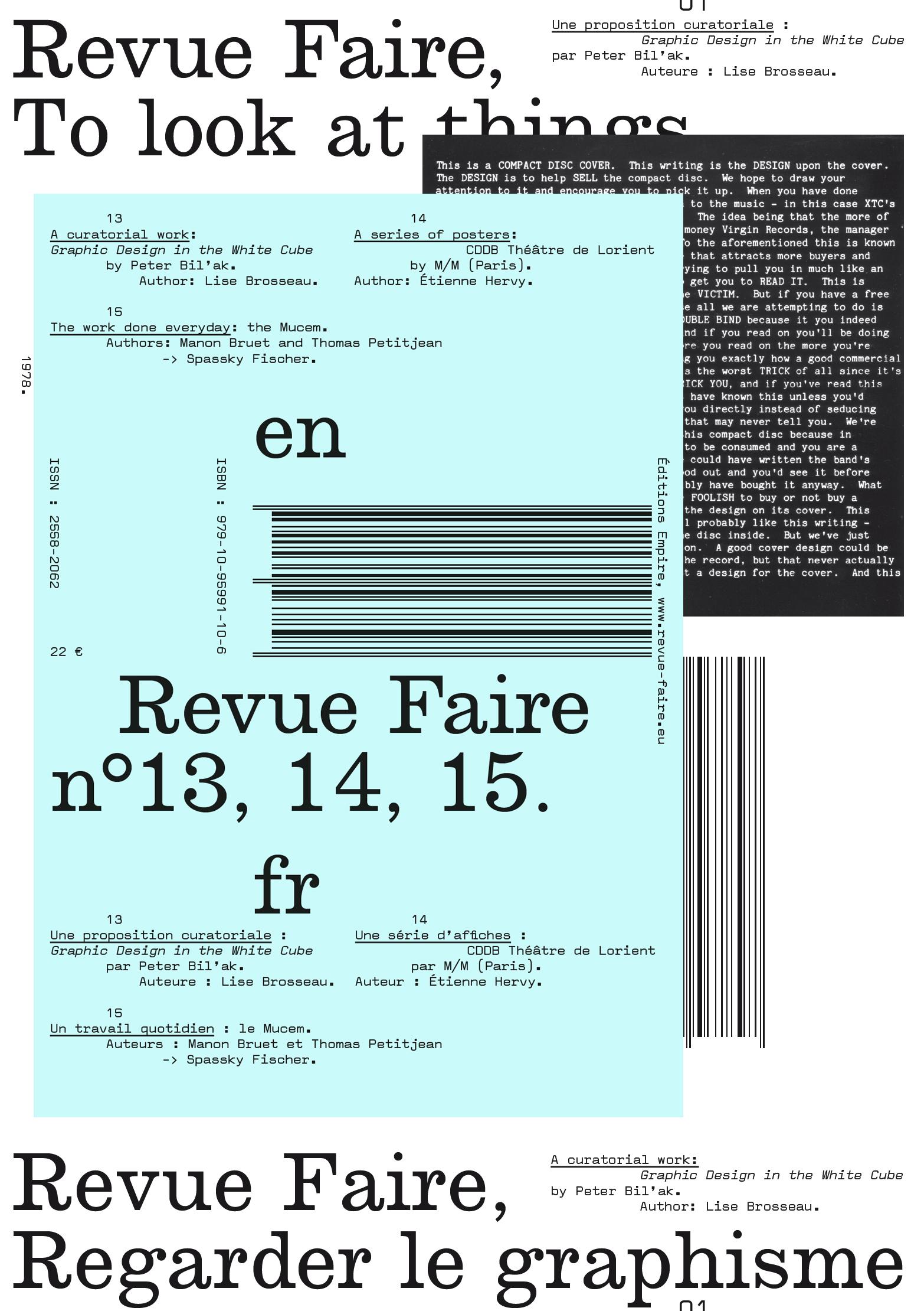 FAIRE - REGARDER LE GRAPHISME - VOLUME 04 (N  13, 14, 15)