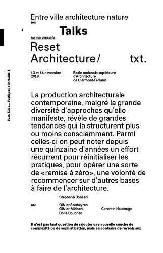 TALKS : RESET ARCHITECTURE /FRANCAIS
