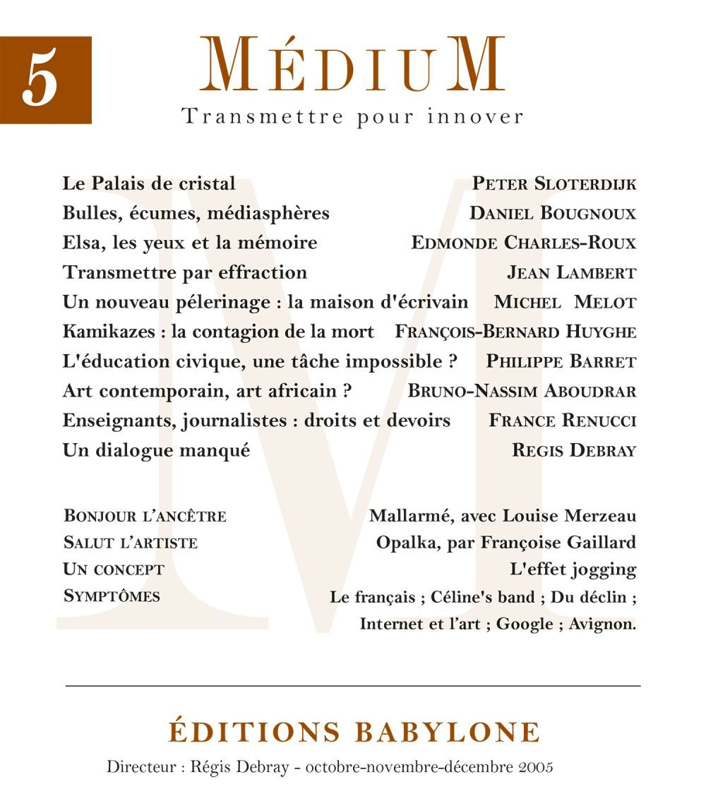 Médium n°5, octobre-décembre 2005
