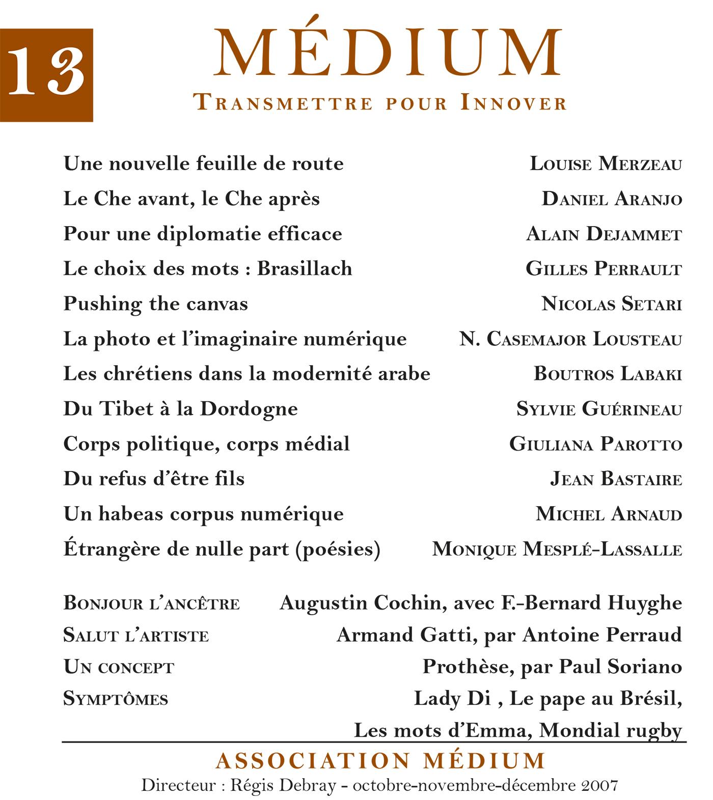 Médium n°13, octobre-décembre 2007