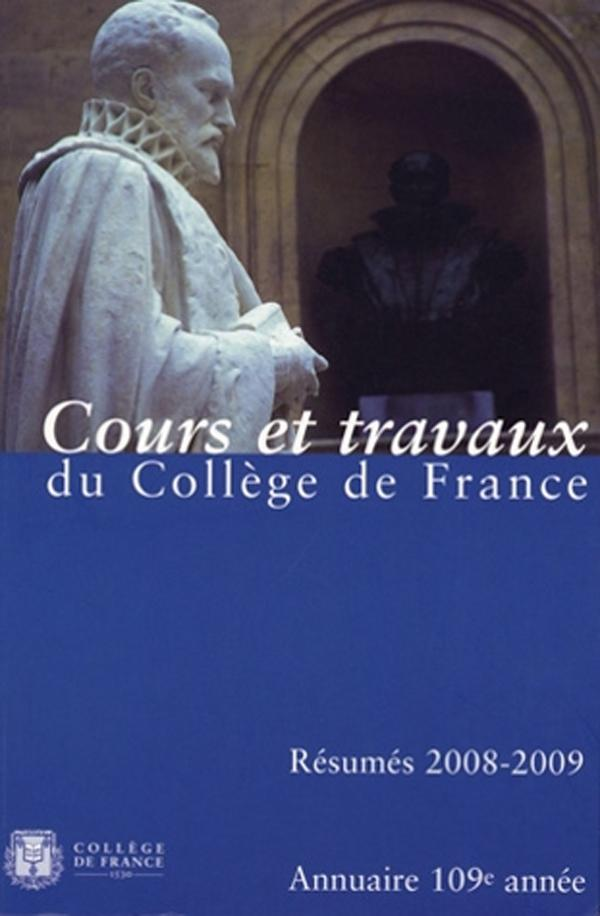 109 | 2010 - Annuaire 2008-2009 - Annuaire CDF, RÉSUMÉ DES COURS ET TRAVAUX