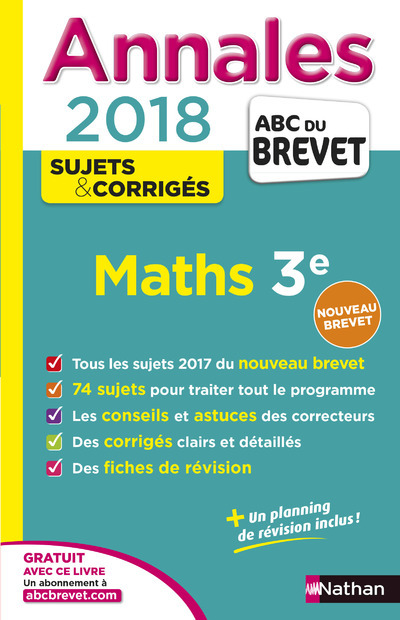 ANNALES BREVET - MATHS 3E - CORRIGES - 2018