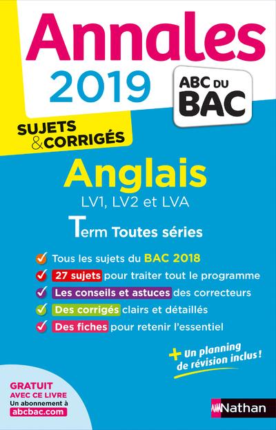 ANNALES BAC 2019 ANGLAIS TERMINALE TOUTES SERIES CORRIGE