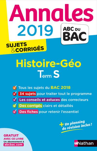 ANNALES BAC 2019 HISTOIRE GEO - TERMINALE S - CORRIGE