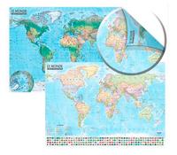 Carte du monde (politique et physique / avec barre