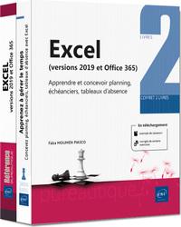 Excel (versions 2019 et Office 365) - Coffret de 2 livres : Apprendre et concevoir planning, échéanc