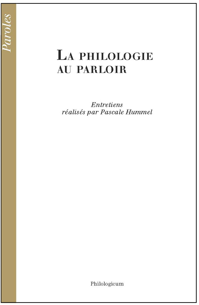 LA PHILOLOGIE AU PARLOIR