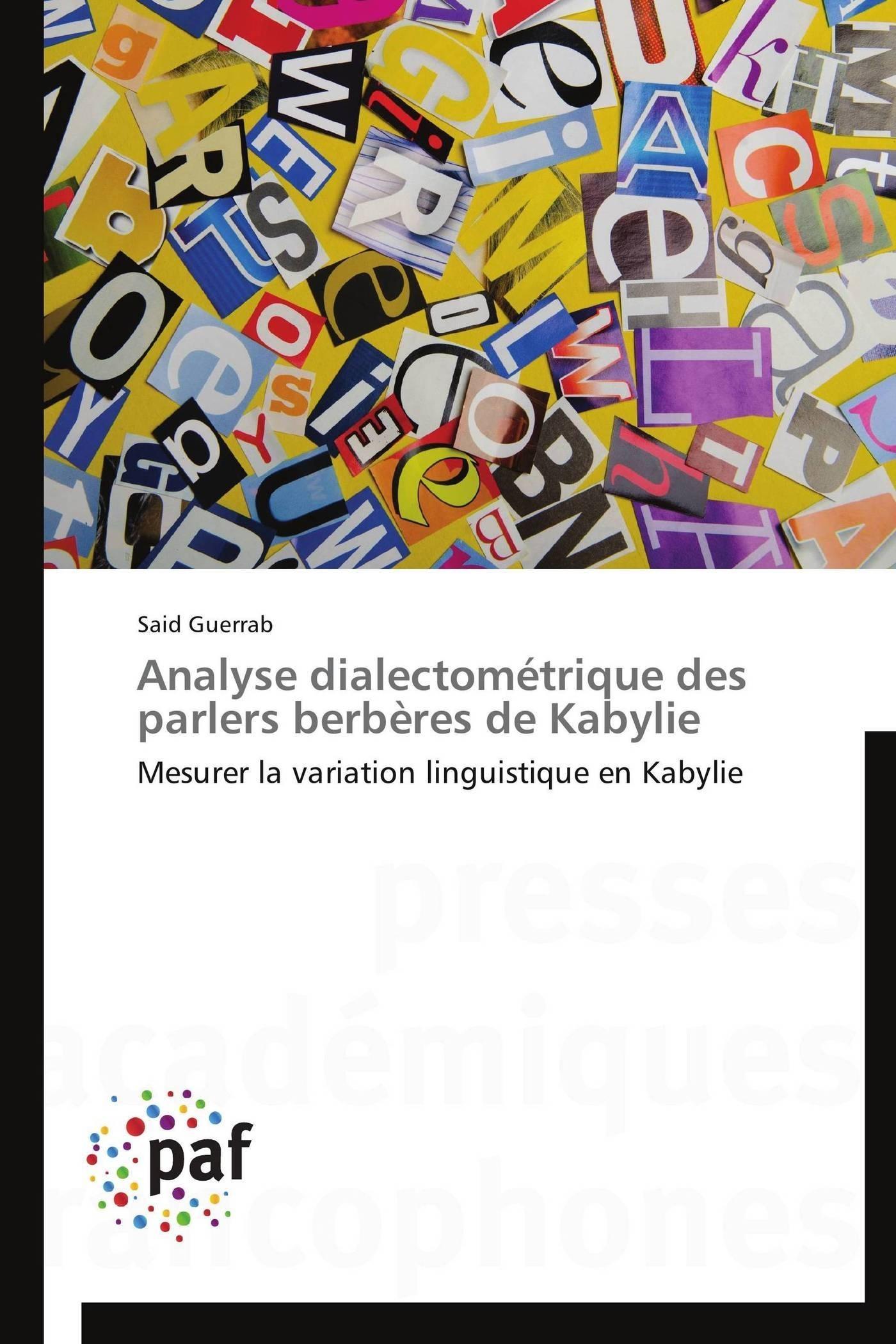 ANALYSE DIALECTOMETRIQUE DES PARLERS BERBERES DE KABYLIE