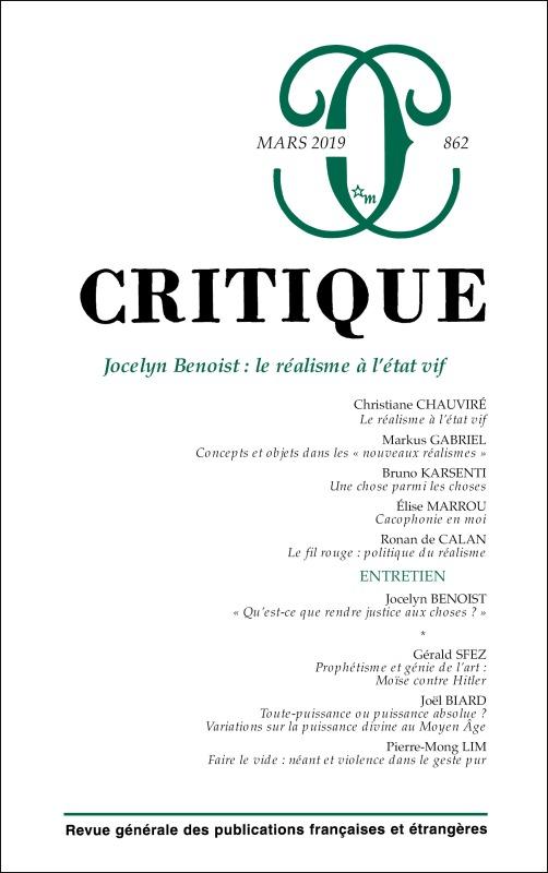 CRITIQUE 862 : JOCELYN BENOIST : LE REALISME A L'ETAT VIF