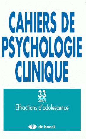 CAHIERS DE PSYCHOLOGIE CLINIQUE 2009/2 N.33