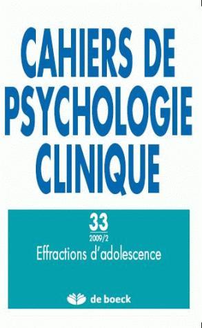 CAHIERS DE PSYCHOLOGIE CLINIQUE 2009/2 N.33