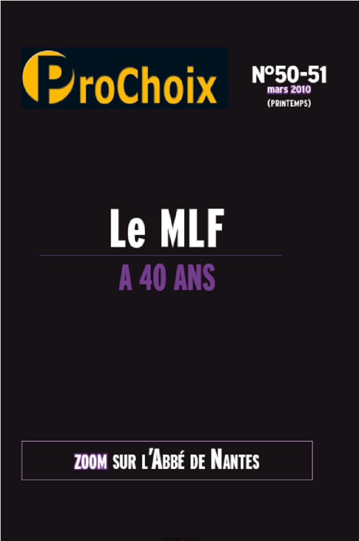 PROCHOIX N 50-51 : LE MLF A 40 ANS