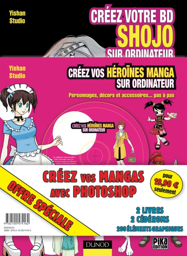 PACK : CREEZ VOS MANGAS AVEC PHOTOSHOP - 2 LIVRES, 2 CD, 200 ELEMENTS GRAPHIQUES ET DES MILLIERS DE