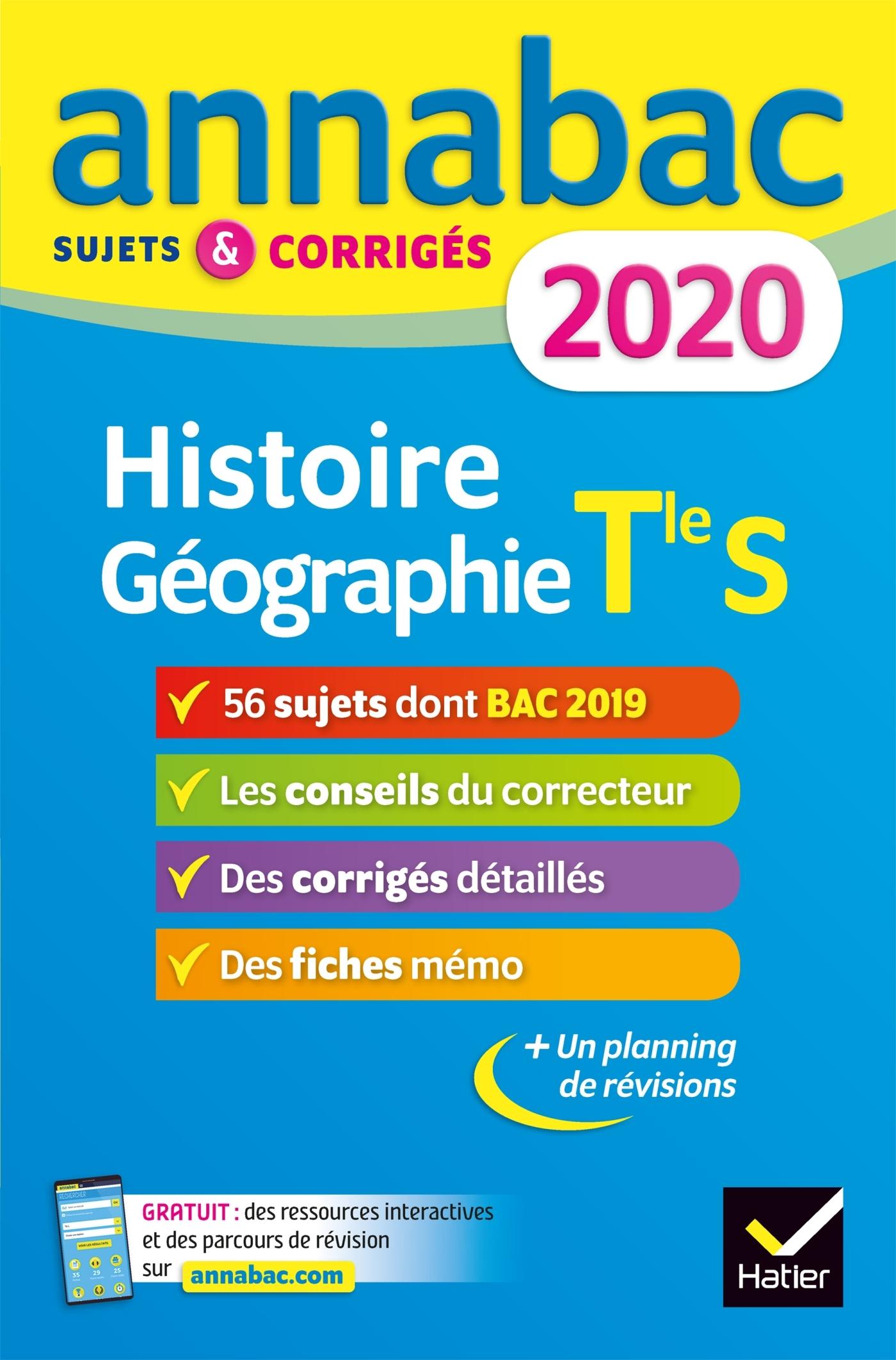ANNALES ANNABAC 2020 HISTOIRE-GEOGRAPHIE TLE S - SUJETS ET CORRIGES DU BAC  TERMINALE S