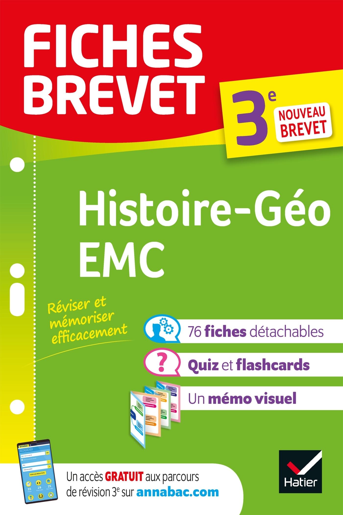 FICHES BREVET HISTOIRE-GEOGRAPHIE EMC 3E - FICHES DE REVISION POUR LE NOUVEAU BREVET