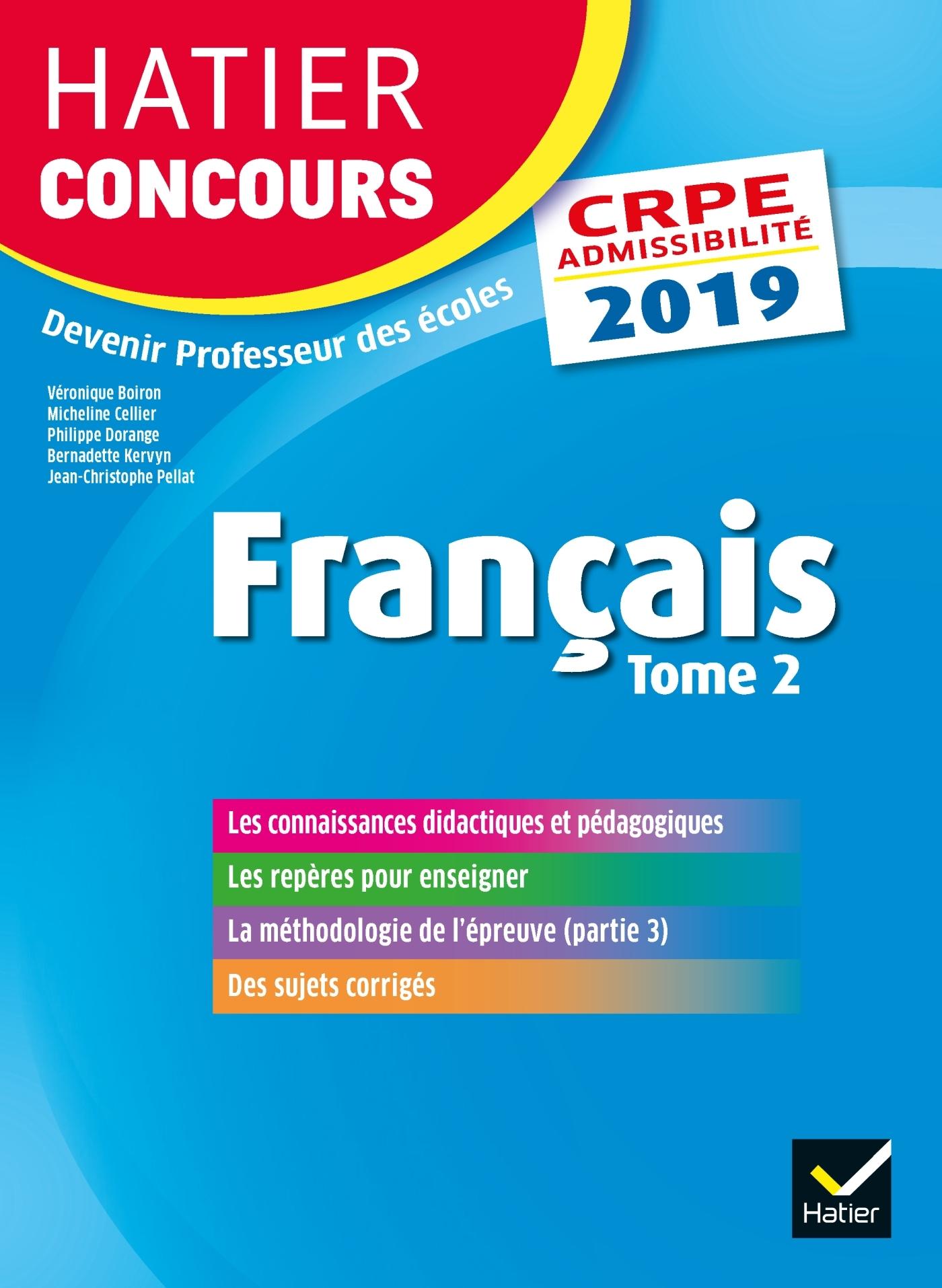 HATIER CONCOURS CRPE 2019 - FRANCAIS TOME 2 - EPREUVE ECRITE D'ADMISSIBILITE