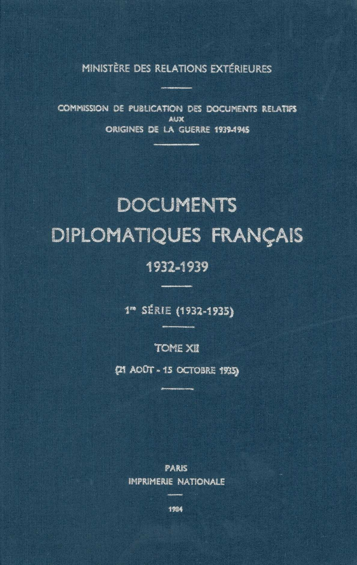 DOCUMENTS DIPLOMATIQUES FRANCAIS - 1935 - TOME IV (21 AOUT - 15 OCTOBRE)