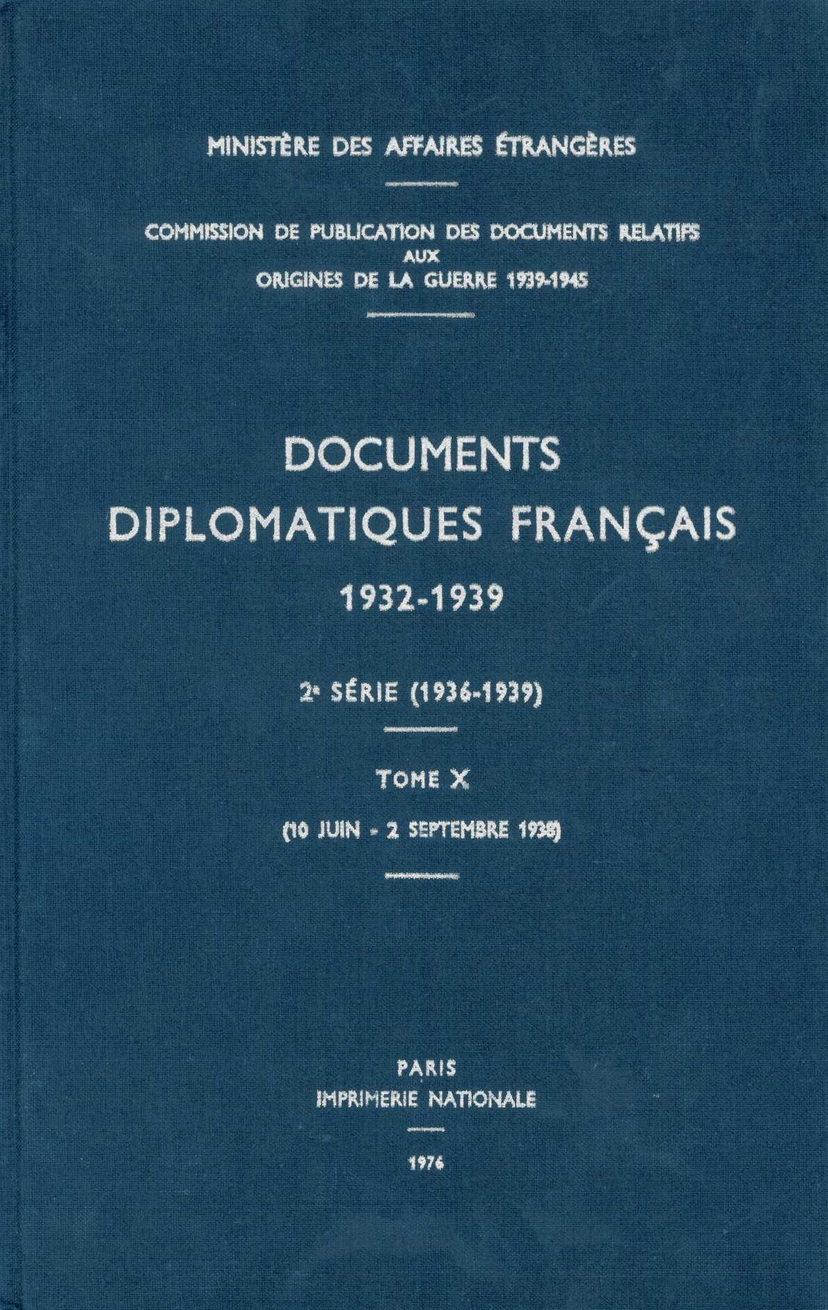 DOCUMENTS DIPLOMATIQUES FRANCAIS 1938 TOME III