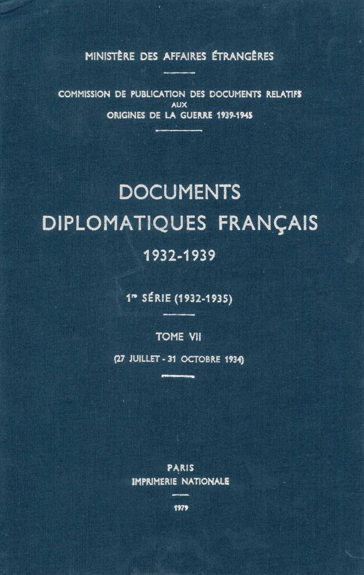 DOCUMENTS DIPLOMATIQUES FRANCAIS - 1934 - TOME II (27 JUILLET - 31 OCTOBRE)