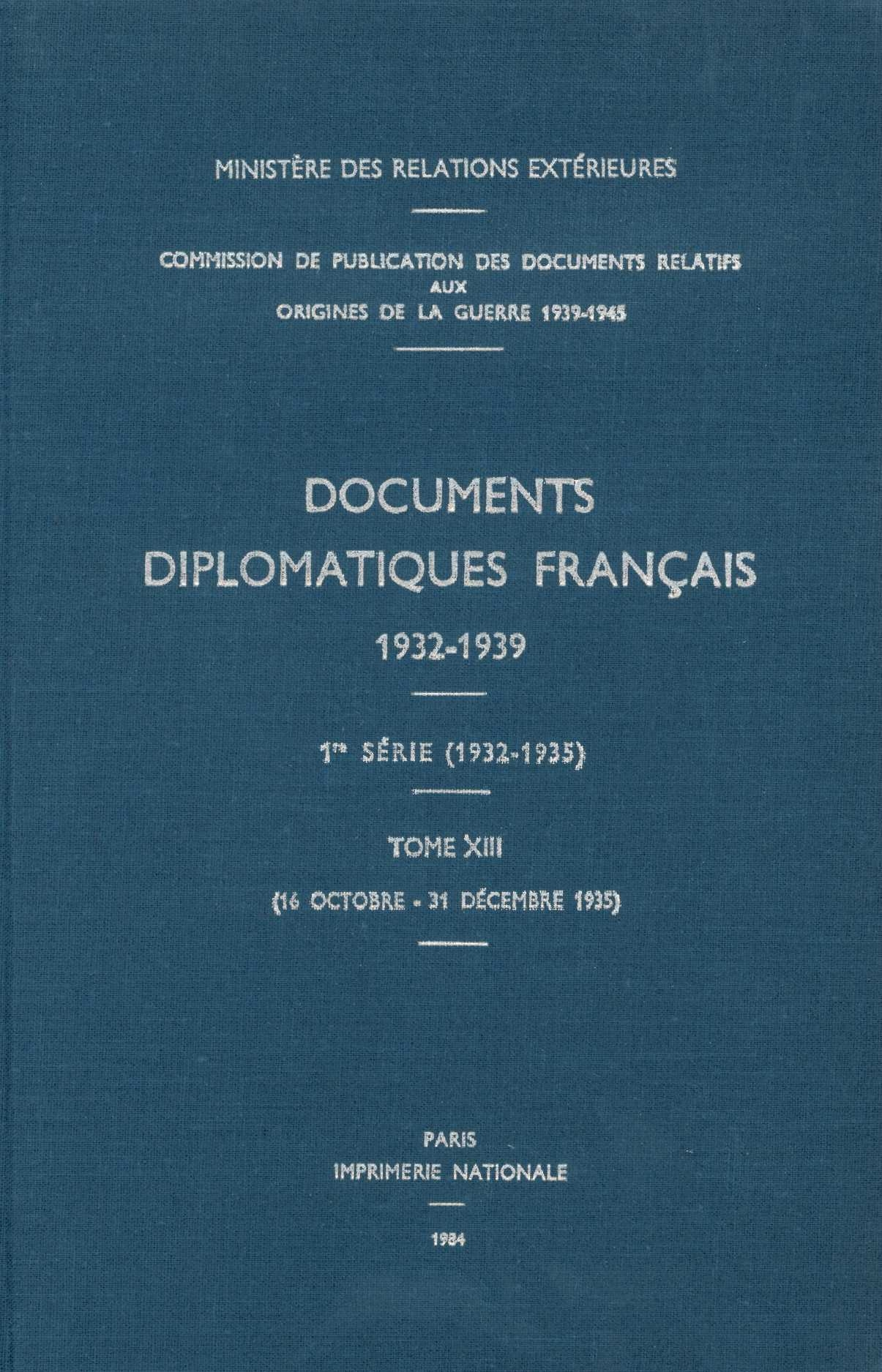 DOCUMENTS DIPLOMATIQUES FRANCAIS - 1935 - TOME V (16 OCTOBRE - 31 DECEMBRE)
