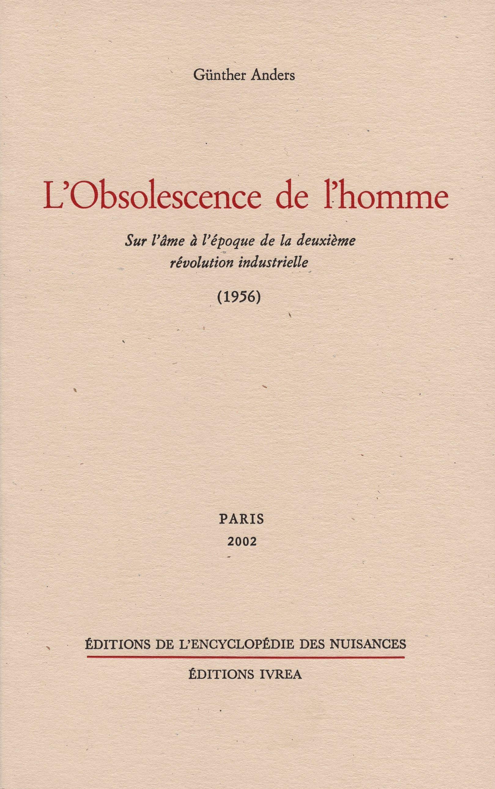 OBSOLESCENCE DE L'HOMME (L')