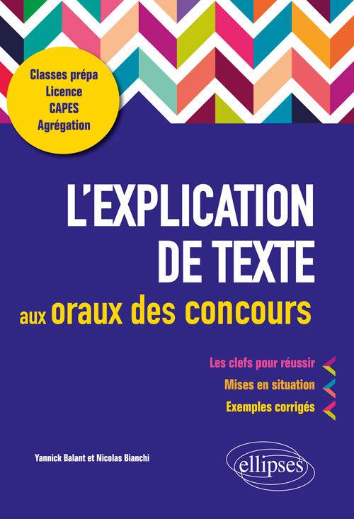 L'EXPLICATION DE TEXTE AUX ORAUX DES CONCOURS