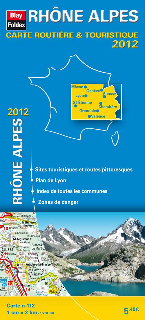 RHONE-ALPES 2012 - CARTE ROUTIERE ET TOURISTIQUE REGIONALE (112)- 1/200 000