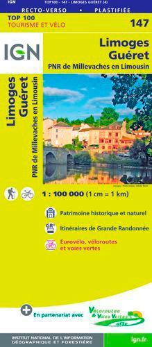 TOP100147 LIMOGES / GUERET  1/100.000