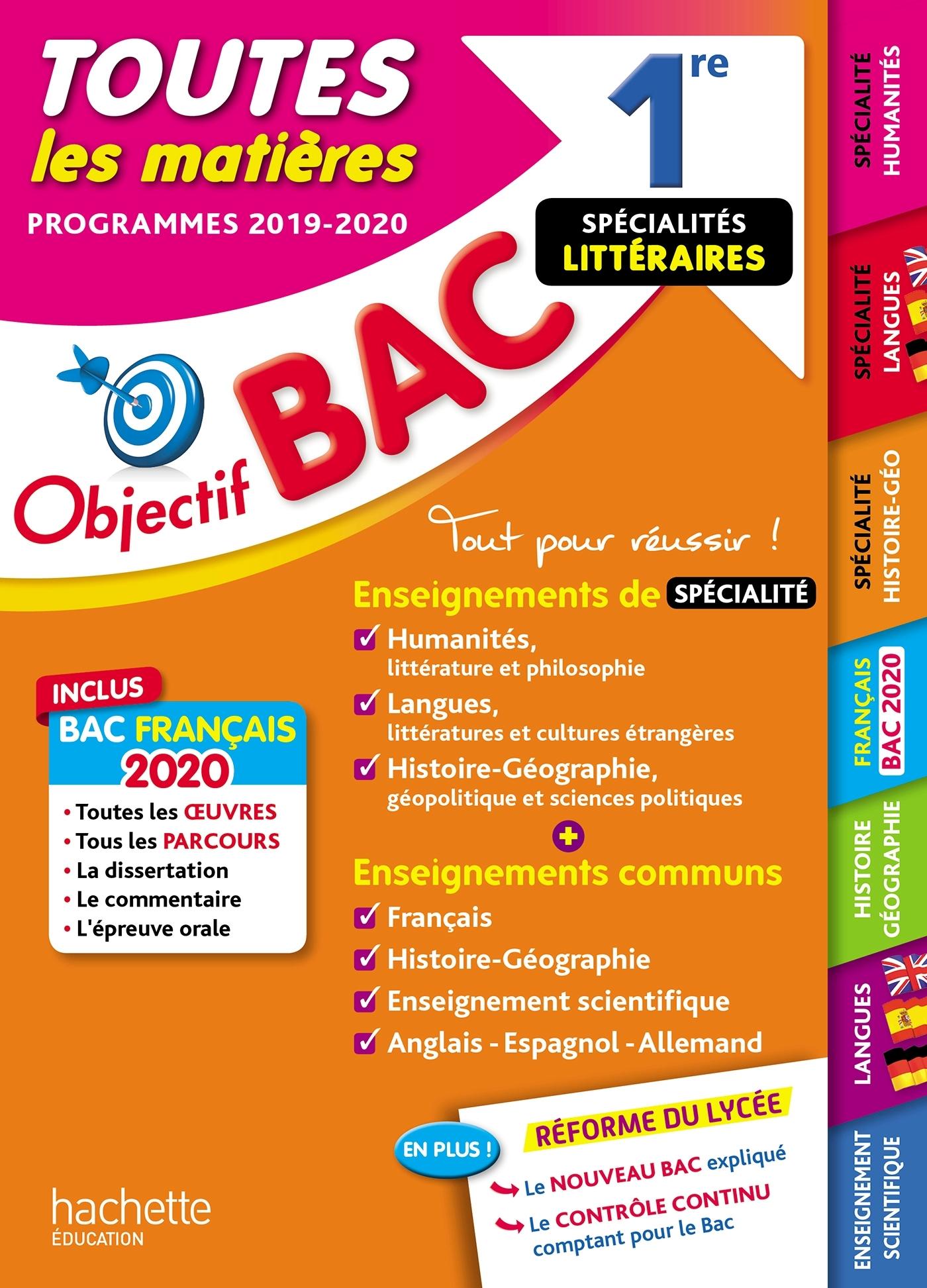 1RE ENSEIGNEMENTS COMMUNS + SPECIALITES LETTRES-LANGUES-HISTOIRE-GEO BAC 2020