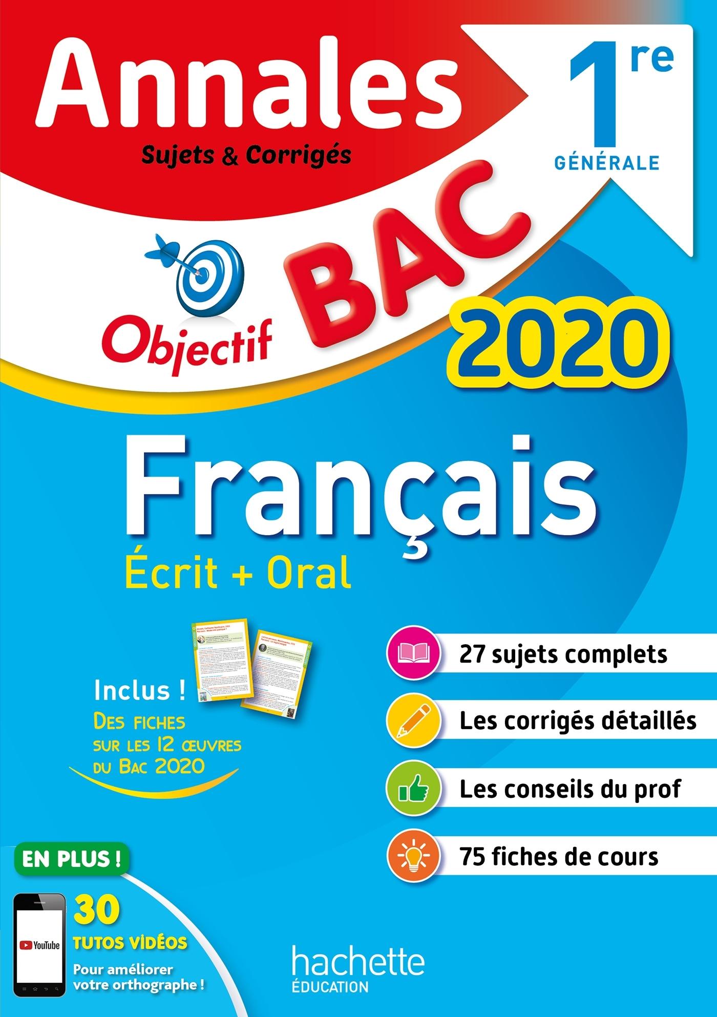 ANNALES BAC 2020 FRANCAIS 1ERES