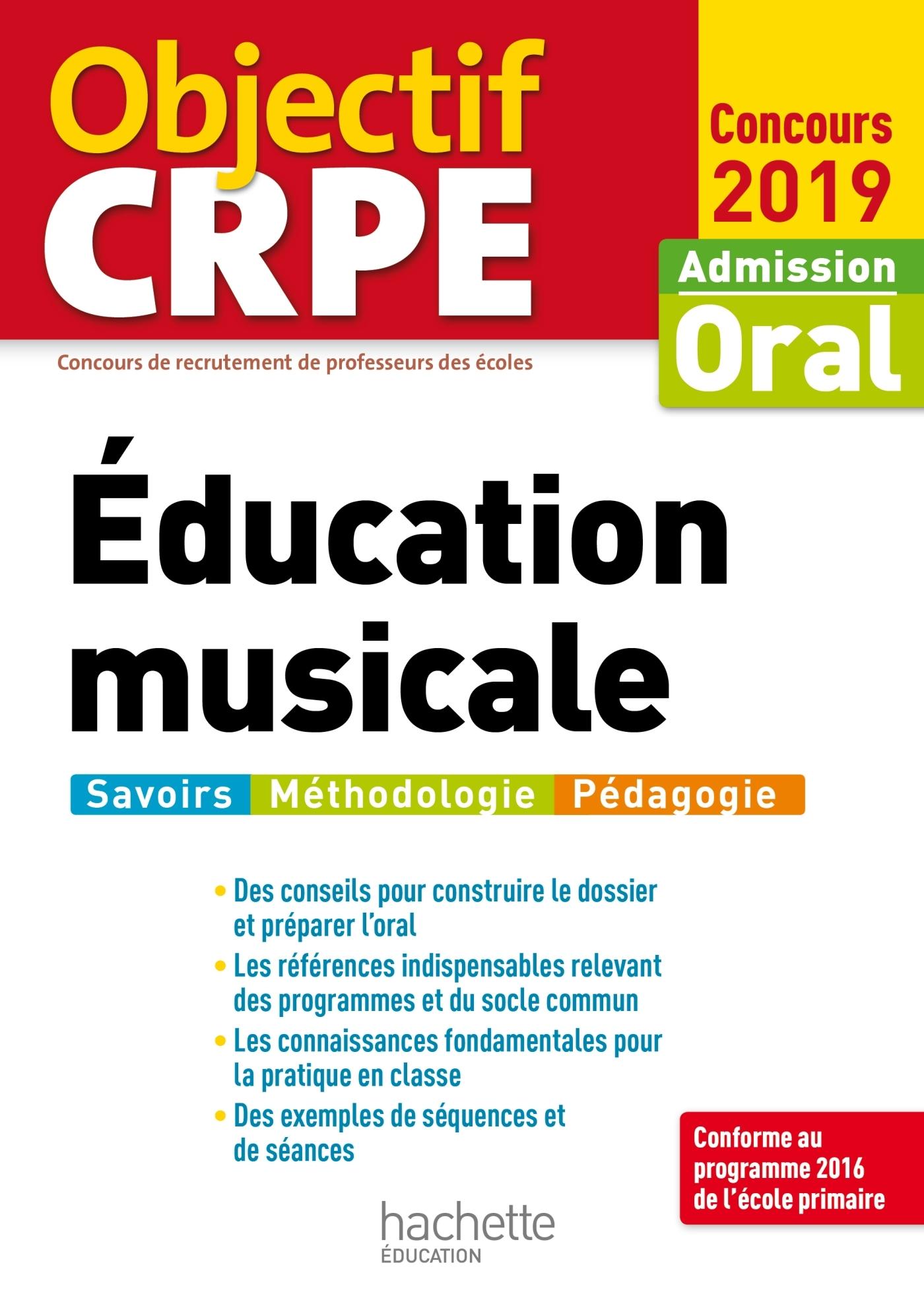 OBJECTIF CRPE EDUCATION MUSICALE 2019
