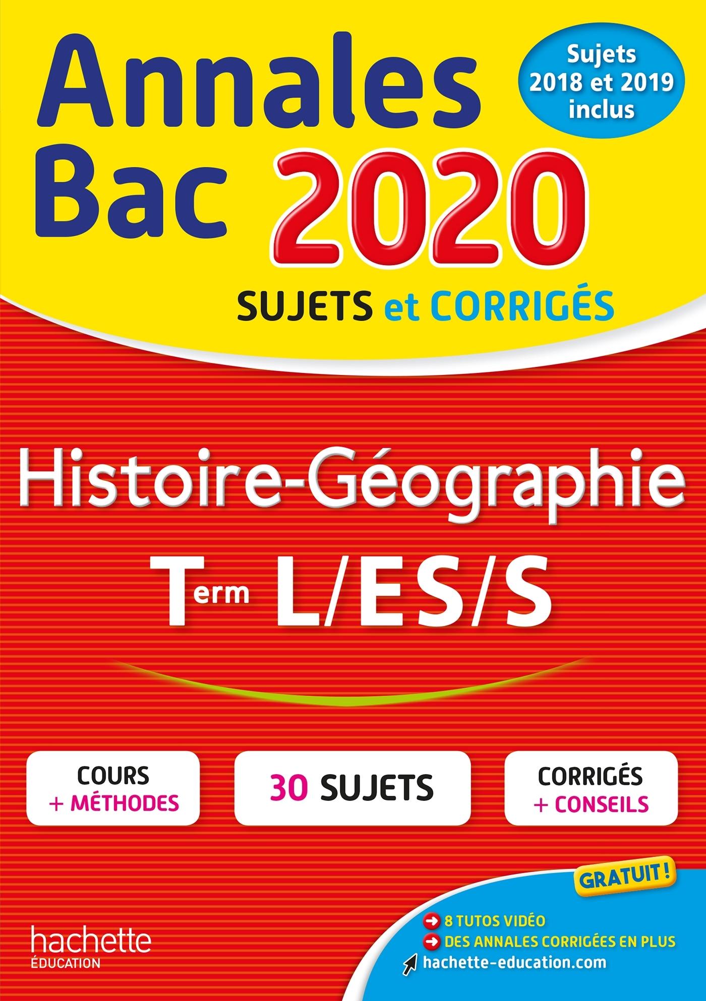 ANNALES BAC 2020 HISTOIRE-GEO TERM L/ES/S