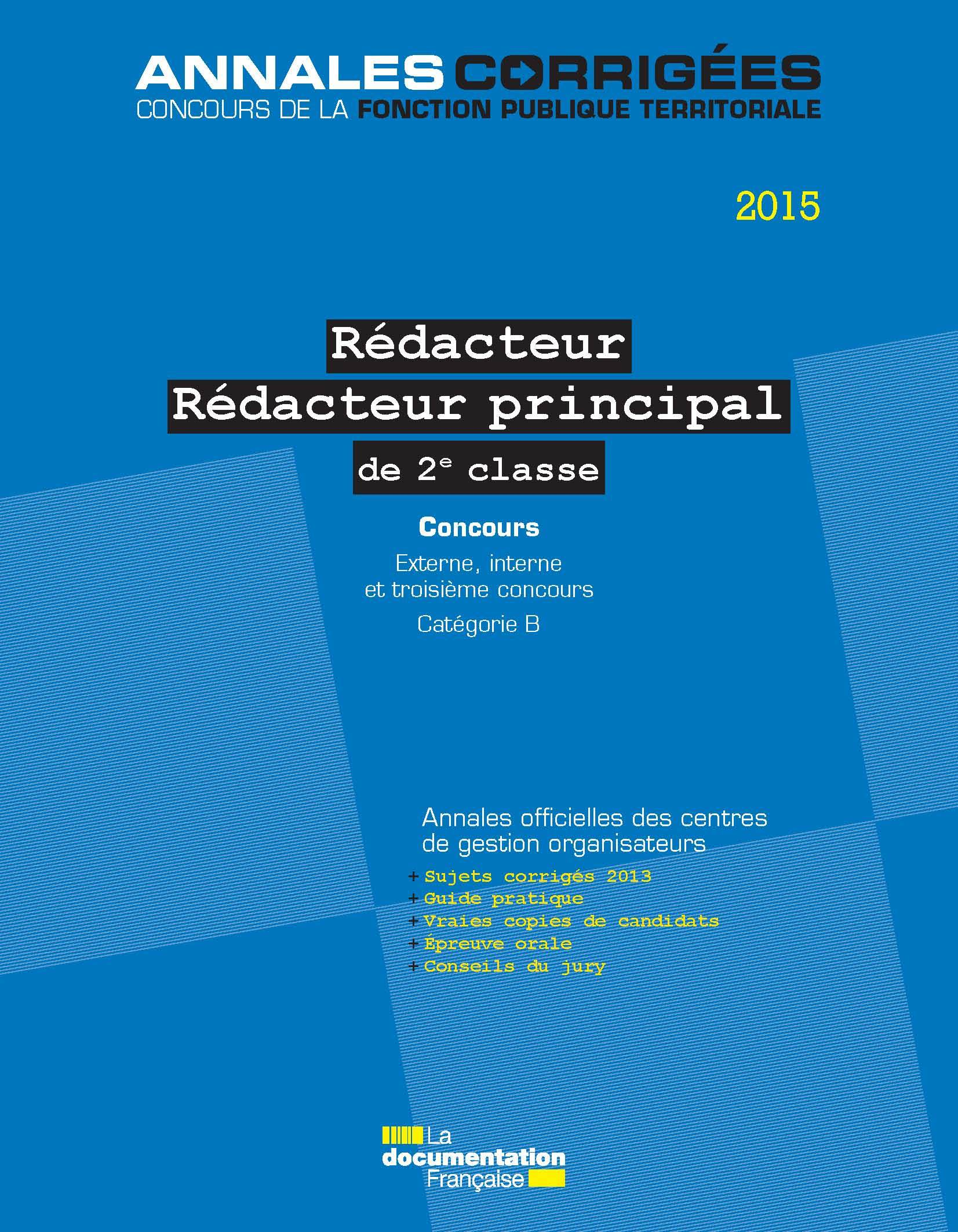 REDACTEUR-REDACTEUR PRINCIPAL 2E CL-CONCOURS 2015
