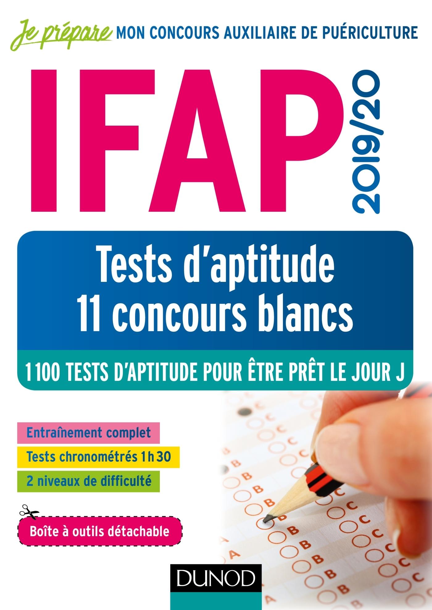 IFAP 2019/20 TESTS D'APTITUDE - 11 CONCOURS BLANCS - CONCOURS AUXILIAIRE DE PUERICULTURE - 1100 TEST