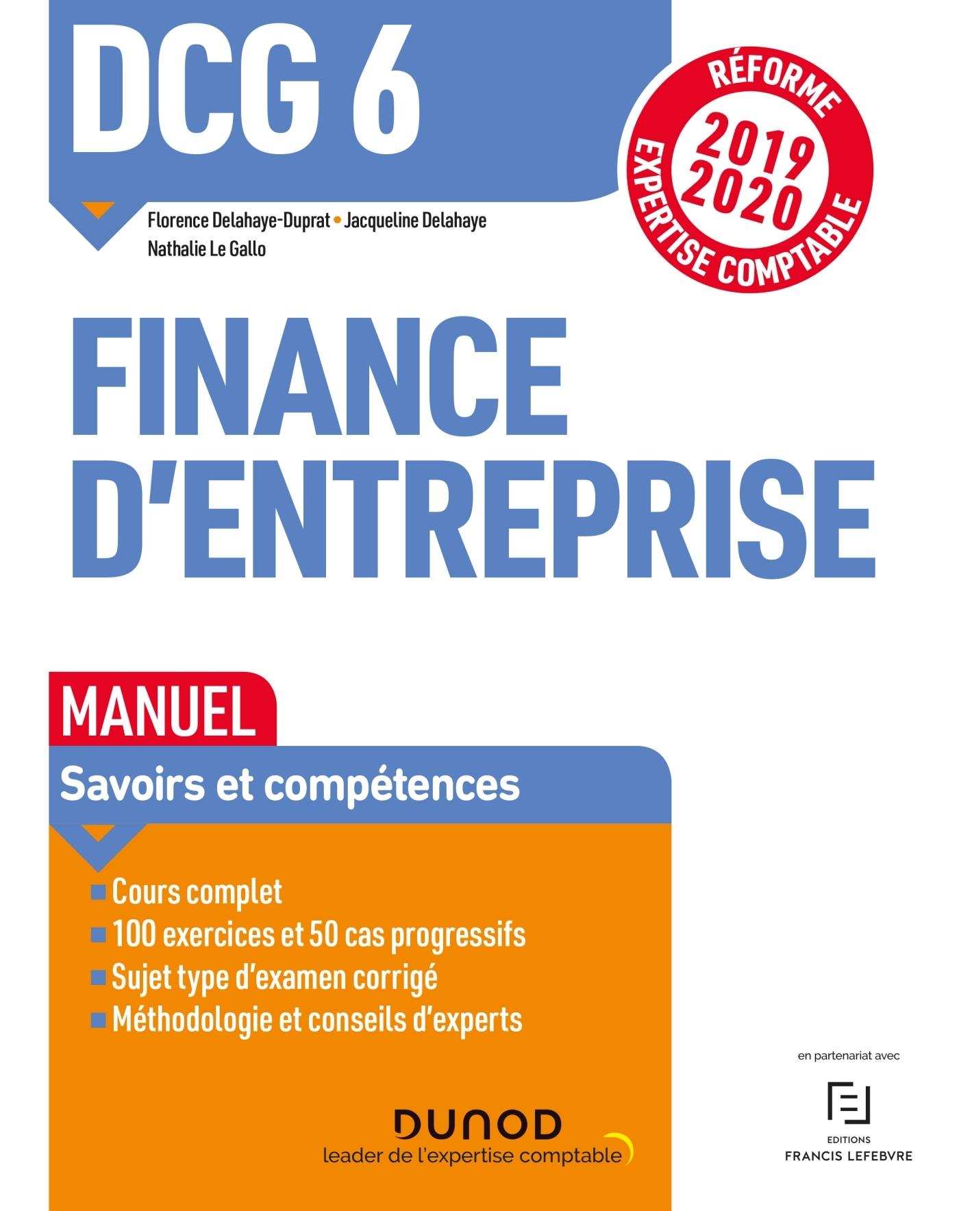 DCG 6 - FINANCE D'ENTREPRISE - DCG 6 - 1 - DCG 6 FINANCE D'ENTREPRISE - MANUEL - REFORME 2019-2020 -