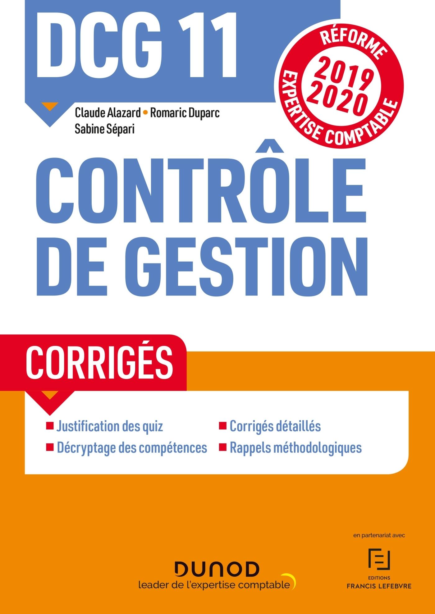DCG 11 - CONTROLE DE GESTION - CORRIGES - REFORME 2019-2020 - REFORME EXPERTISE COMPTABLE 2019-2020