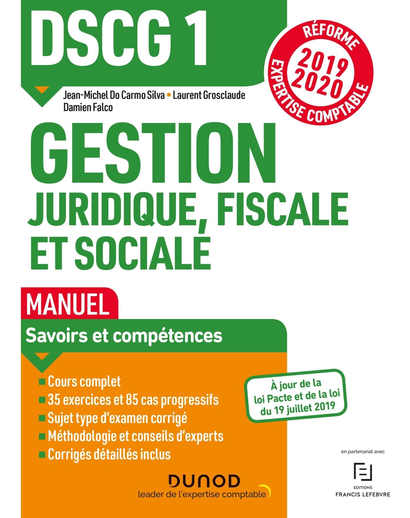 DSCG1 GESTION JURIDIQUE, FISCALE ET SOCIALE - MANUEL - REFORME 2019-2020 - REFORME EXPERTISE COMPTAB