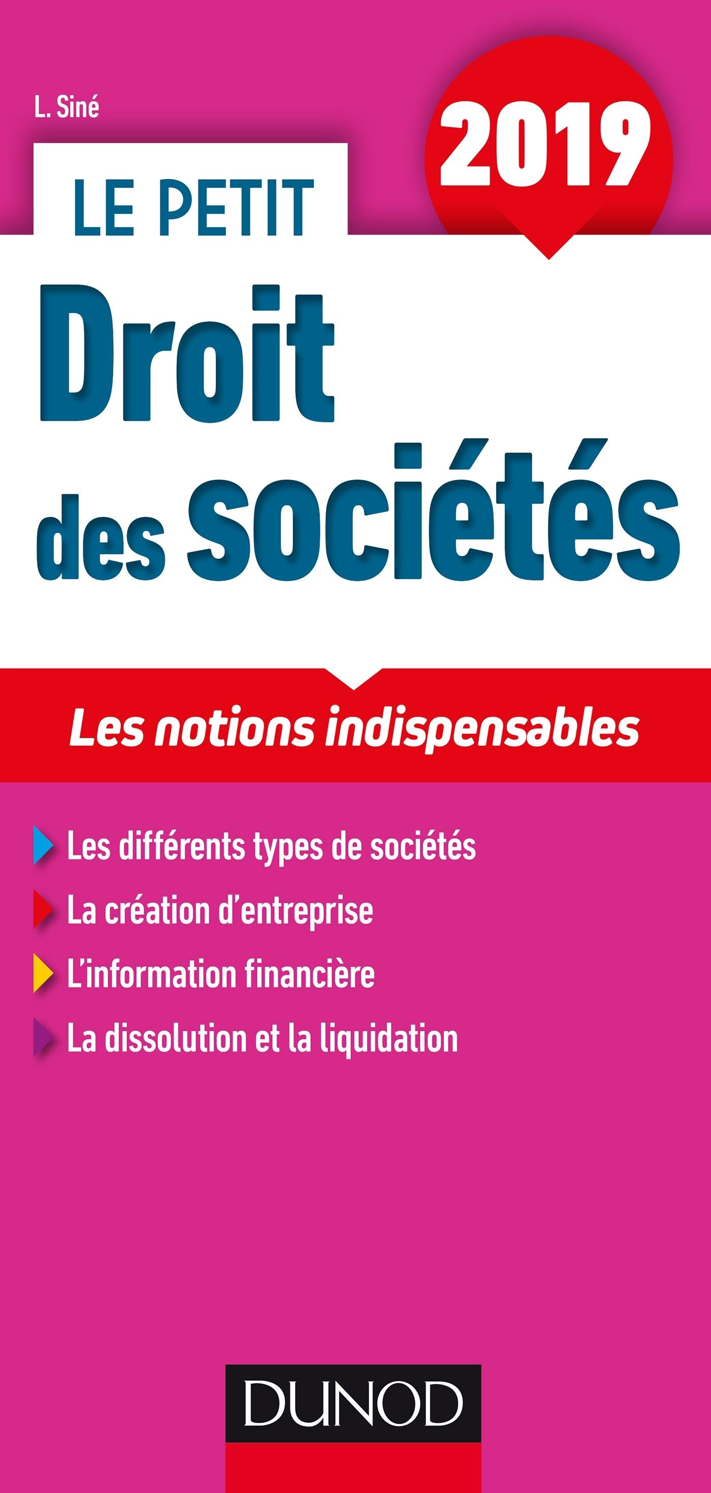 LE PETIT DROIT DES SOCIETES 2019 - LES NOTIONS INDISPENSABLES