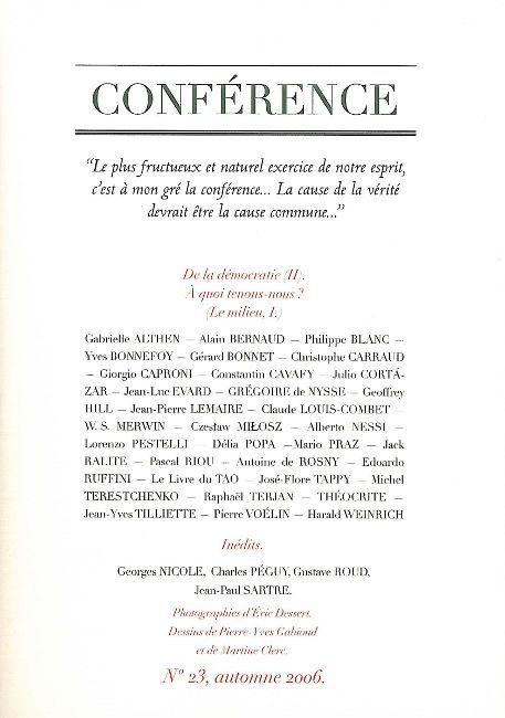 CONFERENCE N 23 - LE MILIEU I