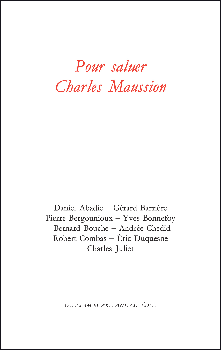POUR SALUER CHARLES MAUSSION