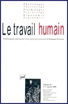 TRAVAIL HUMAIN 2006 VOL.69 N 1 JANVIER 2006